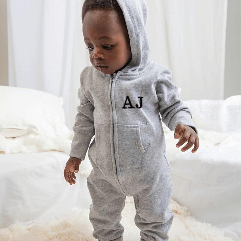 Personalised Hooded Grey Onesie