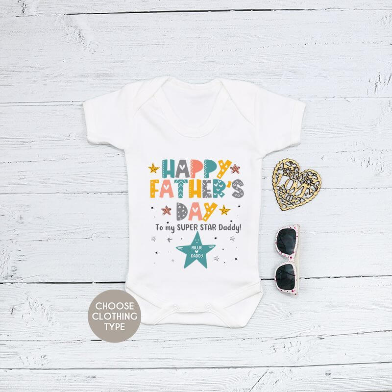 Personalised Super Star Daddy Fathers Day Baby Grow, T Shirt or Romper