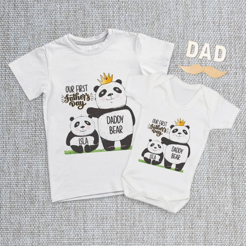 Personalised Matching Daddy And Me Panda  Baby Grow, T Shirt or Romper
