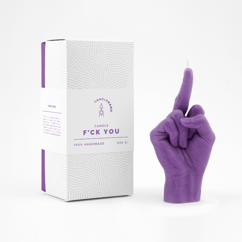 Purple Middle Finger Candle Hand