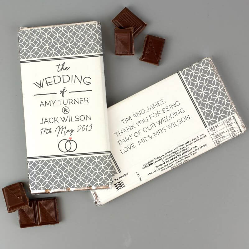 Personalised Wedding Milk Chocolate Bar