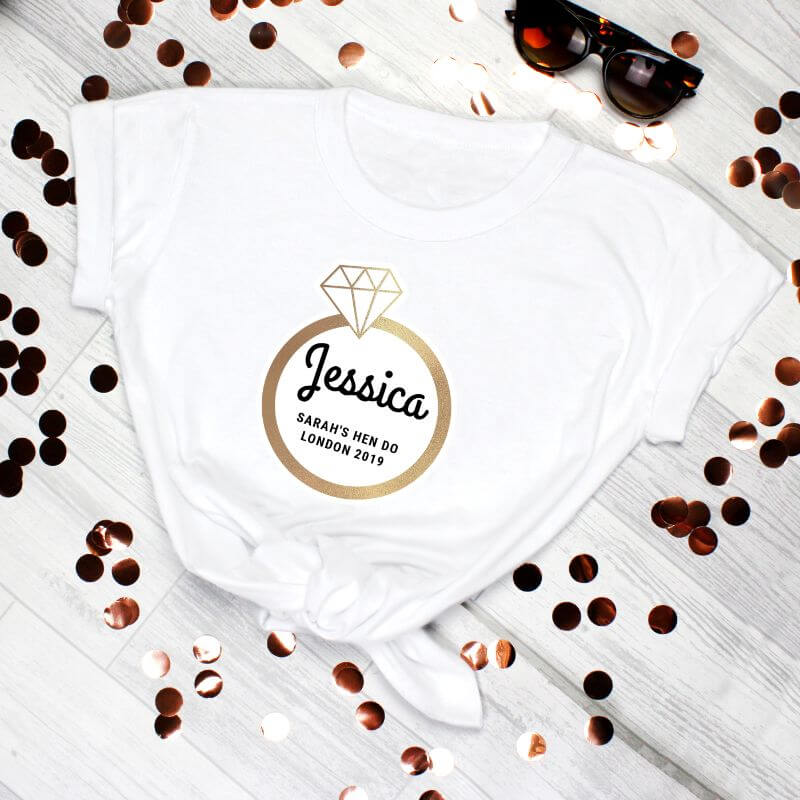 Personalised Gold Bling Ring Hen Party T-Shirt - White