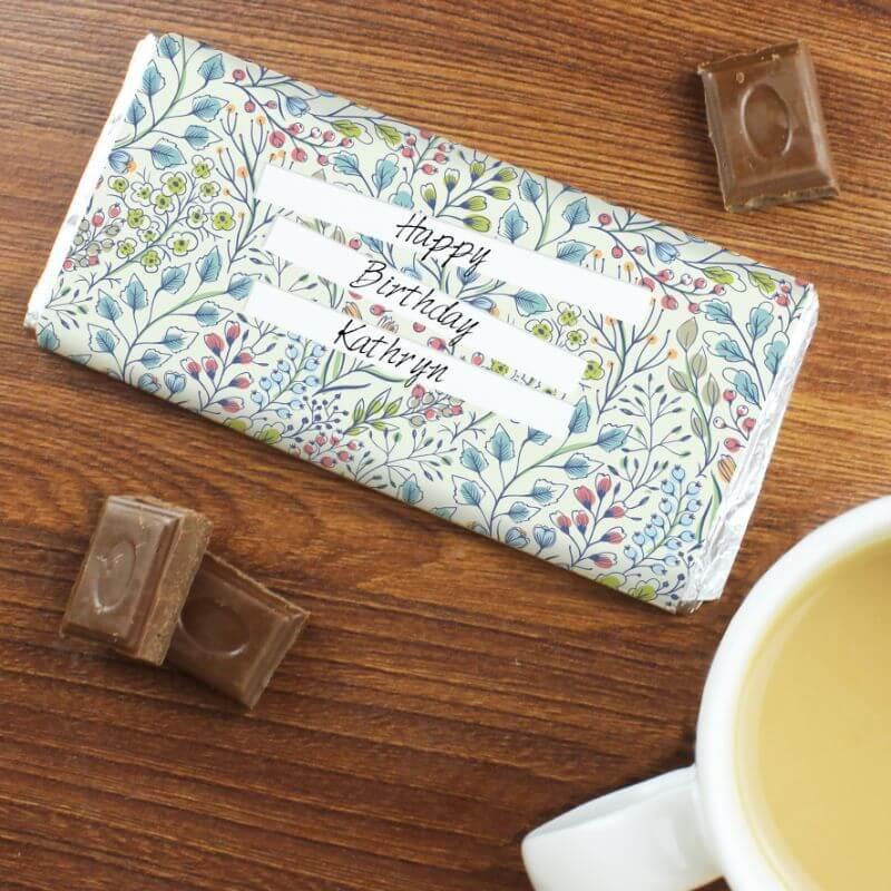Personalised Botanical Milk Chocolate Bar