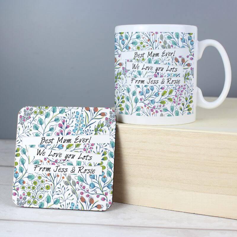 Personalised Botanical Mug And Coaster Set