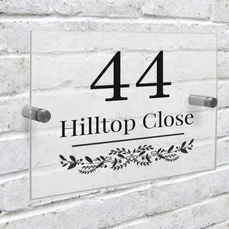 Personalised Botanical Acrylic House Sign
