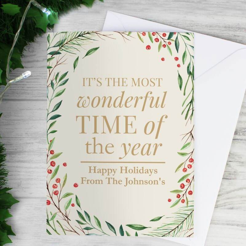 Personalised Wonderful Time of The Year Christmas Card
