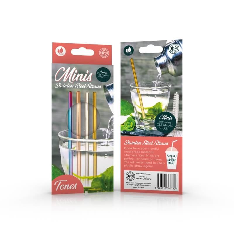 Set of 4 Mini Metal Straws