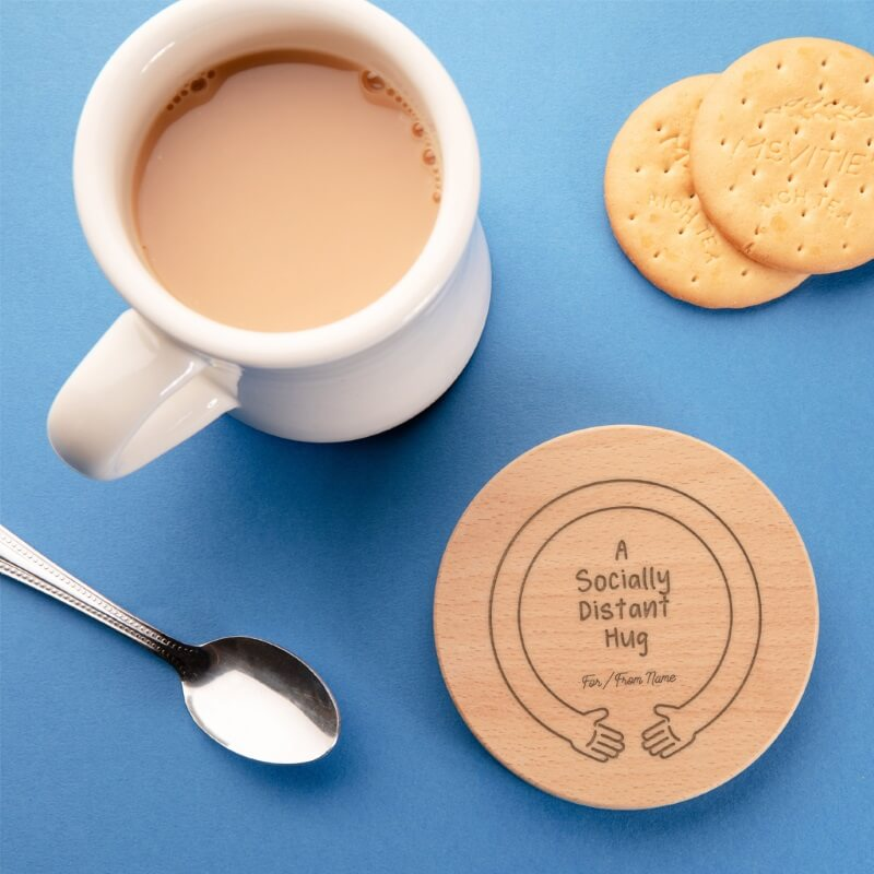 Personalised Socially Distant Hug Coaster