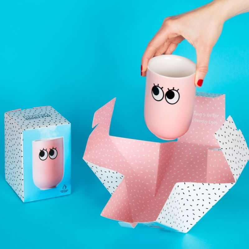 Googly Eye Double Wall Mug - Pink