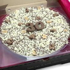 "Image of 30th Birthday Chocolate Pizza - 10"""
