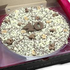 "Image of 40th Birthday Chocolate Pizza - 10"""