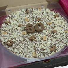 "Image of 50th Birthday Chocolate Pizza - 10"""