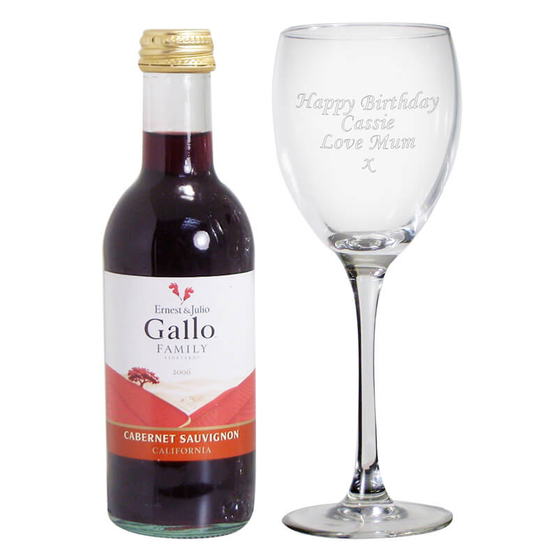 personalised red wine glass with mini bottle of red wine bottle red wine
