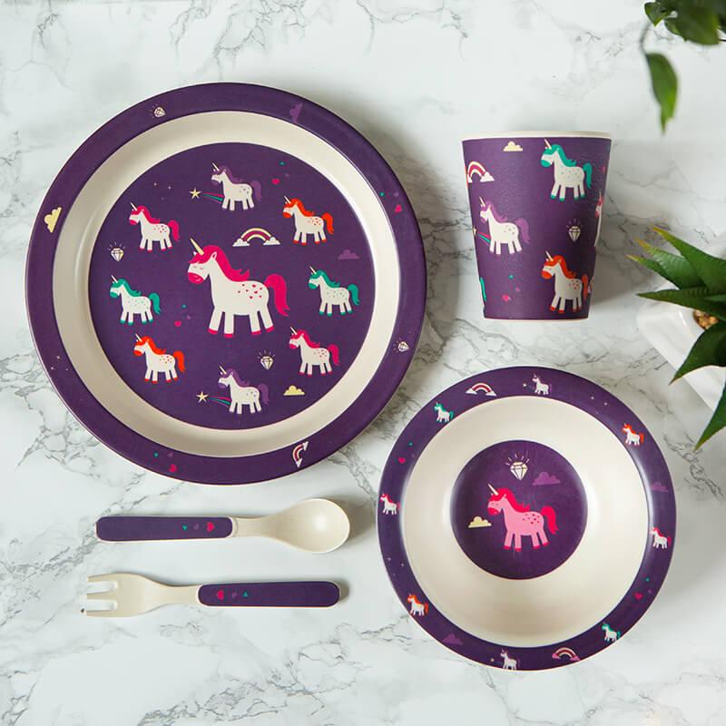 Bamboo Unicorn Reusable Kids Dinner Set