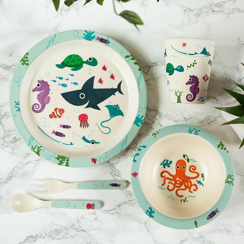 Bamboo Splosh Sealife Kids Reusable Dinner Set