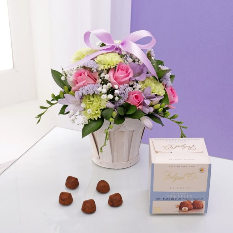 Floral Gift Basket & Champagne Truffle Chocolates