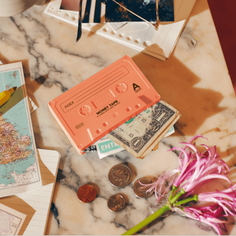 Money Tape Wallet - Coral