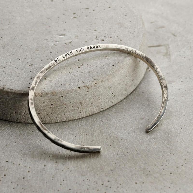 Personalised Men's Molten Silver Cuff