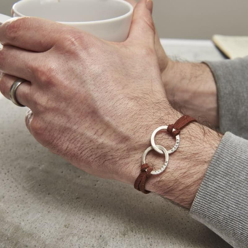 Personalised Men's Double Hoop Bracelet