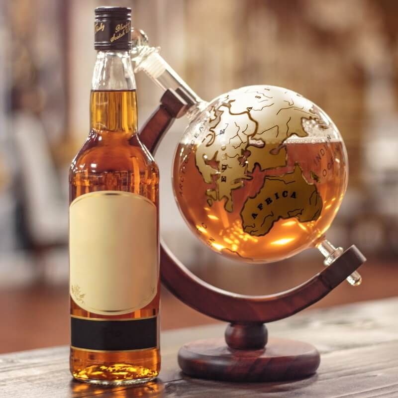 Mixology Vintage Globe Decanter - Gold Ship