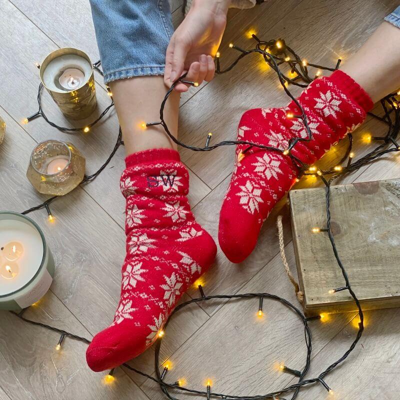 Personalised Fair Isle Christmas Slipper Socks