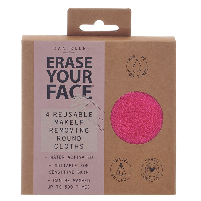 Erase Your Face - Bright Reusable Makeup Removing Round Pads - Set Of 4