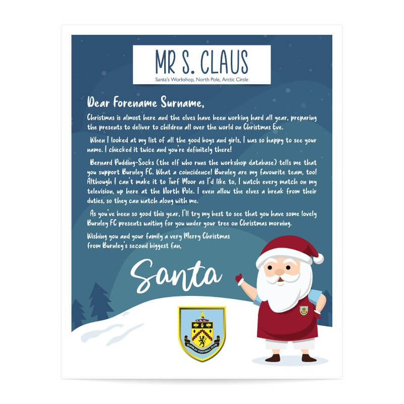Personalised Burnley FC Letter from Santa