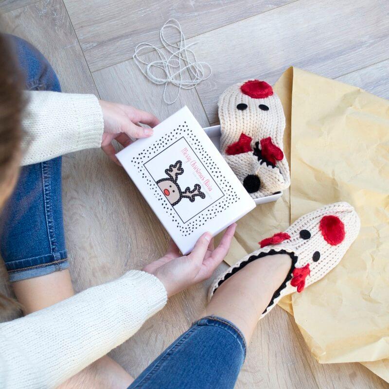 Personalised Reindeer Slipper Gift Box