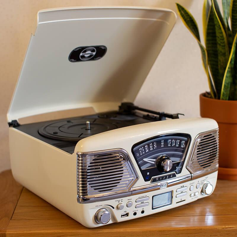 Steepletone 1960's ROXY 4 BT Retro Music System - White