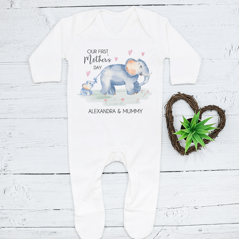 Personalised Matching Mummy And Me First Mothers Day Elephant Babygrow And T Shirt
