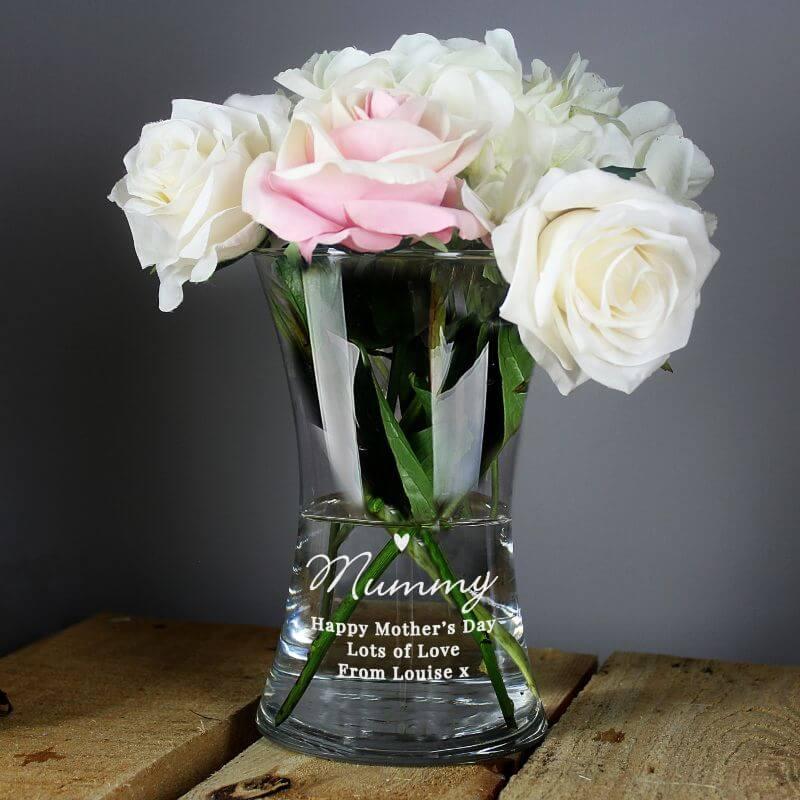 Personalised Waisted Glass Flower Vase
