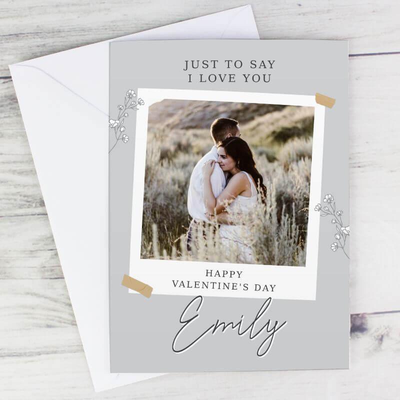 Image of Personalised Grey Snapshot Photo Upload Card