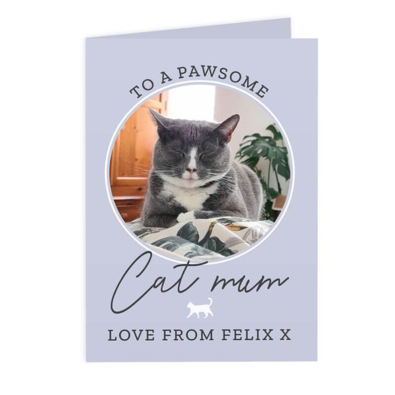 Image of Personalised Pawsome Cat Mum Photo Upload Card