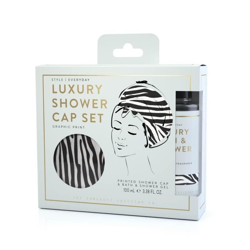 Luxury Shower Cap Gift Set - Zebra