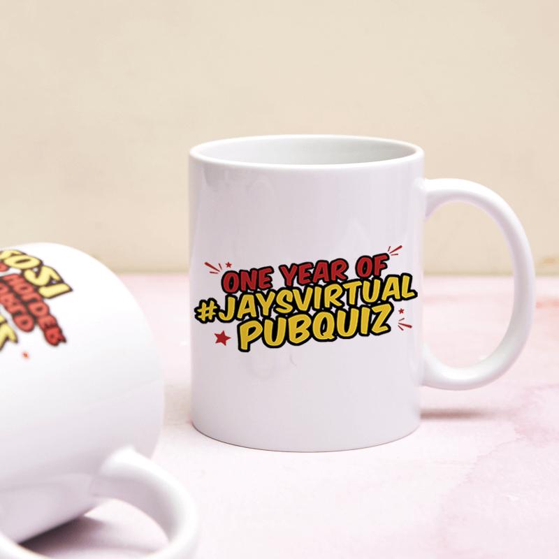 Jay's Virtual Pub Quiz One Year Anniversary Mug