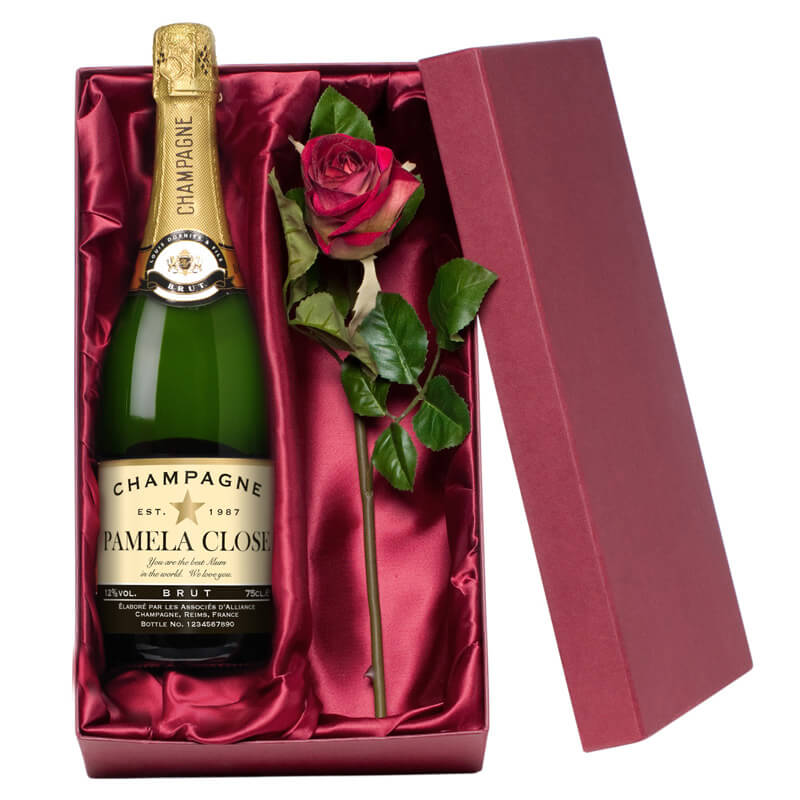 Personalised Champagne with Silk Rose