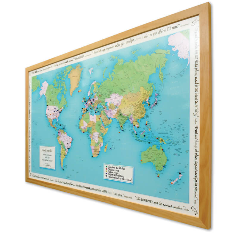 Personalised World Traveller Map Framed Buy from Prezzybox – Personalized World Traveler Map Set