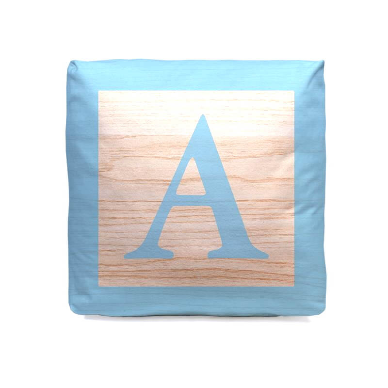 Personalised New Baby Cube Cushion - Blue