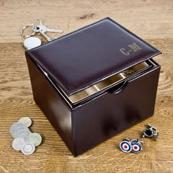 Personalised Leather Watch and Cufflinks Box