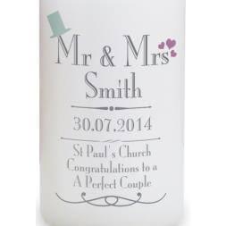 Personalised Wedding Mr & Mrs Candle
