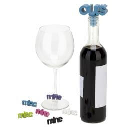 Mine and Ours Wine Glass Charms And Topper Set