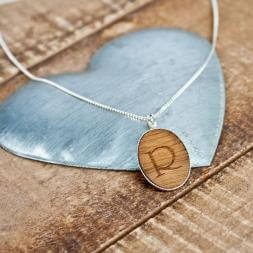 Personalised Sterling Silver And Wood Necklace