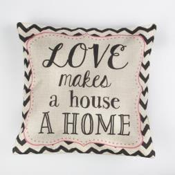 Love Makes a House a Home Chevron Retro Cushion