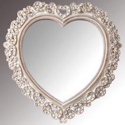 Whitewash Heart Shaped Mirror