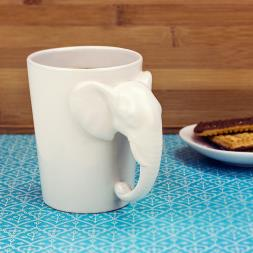 White Elephant Shaped Handle Mug