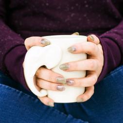 White Elephant Shaped Handle Mug