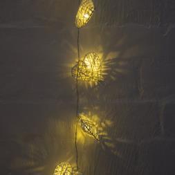 White Heart Rattan String Lights
