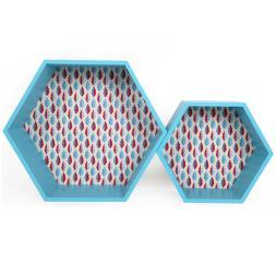 Blue Hexagonal Wall Unit (Set of 2)
