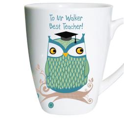 Personalised Mr Owl Teacher Latte Mug