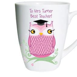 Personalised Miss Owl Teacher Latte Mug